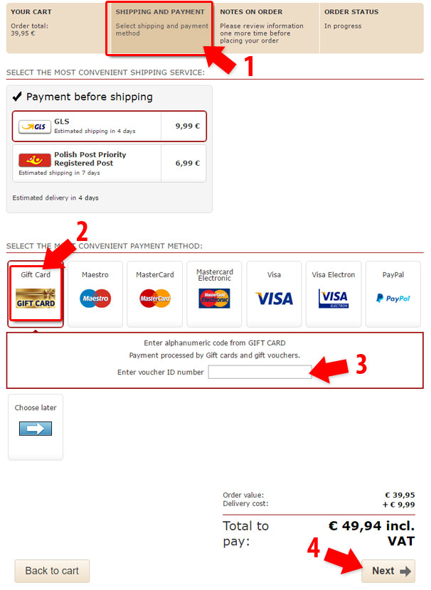 Gif Card how to pay
