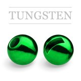 Slotted Tungsten Beads Metallic Green