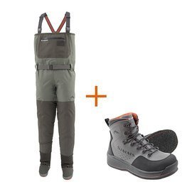 Simms Outfit Stockingfoot Freestone Dark Gunmetal + Freestone Boot Gunmetal Felt