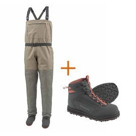 Simms Outfits Triubutary Stockingfoot Tan + Tributary Boot Carbon Rubber